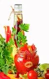 De domeinen van de tomaat, oliepeper en potherbs Stock Afbeeldingen
