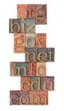 De domeinen van Internet in letterzetseltype Stock Foto's