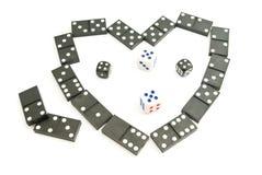 De domino's breekt af en dobbelt Stock Foto