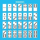 De domino'sbeenderen plaatsen 28 stukken voor spel Stock Afbeeldingen