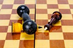 De domoor ligt op een schaakbord, zijn twee schaakkoningen dichtbij gevallen De overwinning van macht over de mening royalty-vrije stock afbeeldingen