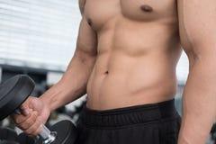 de domoor van de mensenlift in gymnastiek bodybuildermannetje die in fitnes uitwerken Royalty-vrije Stock Foto's