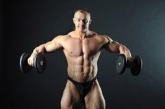 De domoren van de bodybuilderholding Royalty-vrije Stock Afbeeldingen