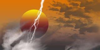 De donder van de zonsondergang   Stock Foto's
