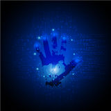 De donkerblauwe Abstracte digitale conceptuele achtergrond van de technologieveiligheid met slot het Web van Internet van de comp stock illustratie