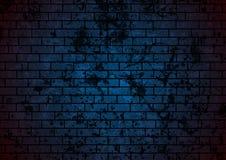 De donkerblauwe achtergrond van de grungebakstenen muur vector illustratie
