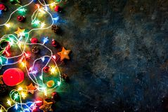 De donkerblauwe achtergrond van Kerstmis Stock Fotografie