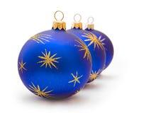 De donkerblauwe ballen van Kerstmis Royalty-vrije Stock Afbeeldingen