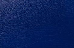 De donkerblauwe druk van de leertextuur als achtergrond Royalty-vrije Stock Foto's