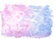 De donkerblauwe en roze gemengde achtergrond van de tweekleurige waterverf horizontale gradiënt Het ` s nuttig voor groetkaarten, Stock Fotografie