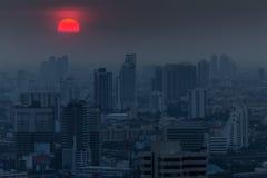 De donkerblauwe schemering van Bangkok Royalty-vrije Stock Afbeelding