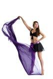 De donkerbruine geïsoleerdei dans van de schoonheid met doek Royalty-vrije Stock Afbeeldingen