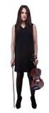 De donkerbruine jonge viool van de vrouwenholding Royalty-vrije Stock Foto's