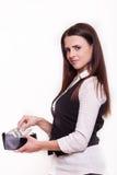 De donkerbruine portefeuille van de bedrijfsvrouwenbeurs op witte achtergrond Stock Foto's