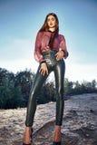 De donkerbruine sexy vorm van het het gezichtslichaam van de schoonheids yang vrouw perfecte Stock Afbeelding