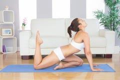 De donkerbruine sportieve vrouw het praktizeren yoga stelt op oefeningsmat Royalty-vrije Stock Foto