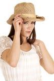 De donkerbruine veedrijfsterhand op hoed ziet dicht eruit Royalty-vrije Stock Fotografie