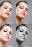 De donkerbruine versies van de schoonheidsmake-up. Royalty-vrije Stock Fotografie