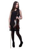 De donkerbruine viool van de vrouwenholding Royalty-vrije Stock Foto