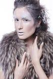 De donkerbruine vrouw in bont met creatief maakt omhoog in de winterstijl met Stock Afbeeldingen