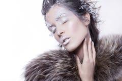 De donkerbruine vrouw in bont met creatief maakt omhoog in de winterstijl met Royalty-vrije Stock Foto