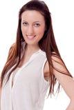De donkerbruine vrouw glimlacht geïsoleerdr portret Royalty-vrije Stock Afbeelding