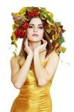 De donkerbruine Vrouw van de Herfst Royalty-vrije Stock Foto's