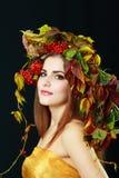 De donkerbruine Vrouw van de Herfst Royalty-vrije Stock Afbeelding