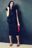 De donkerbruine vrouw van de manier Stock Foto's