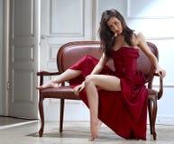 De donkerbruine vrouw van de schoonheid Royalty-vrije Stock Fotografie