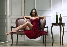 De donkerbruine vrouw van de schoonheid Royalty-vrije Stock Foto