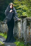 De Donkerbruine vrouw van de schoonheid in het bos van Abchazië Stock Foto