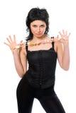 De donkerbruine vrouw van de schoonheid met in hand parels Royalty-vrije Stock Fotografie