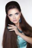De donkerbruine vrouw van de schoonheidsmanier Het lange haar stileren Mooie woma Royalty-vrije Stock Foto's