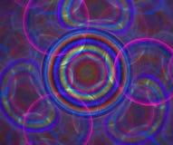 De donkere abstracte achtergrond met regenboog borrelt textuur Cirkels o Stock Foto