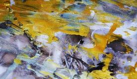 De donkere abstracte achtergrond van de waterverfverf in gouden tinten Stock Afbeeldingen