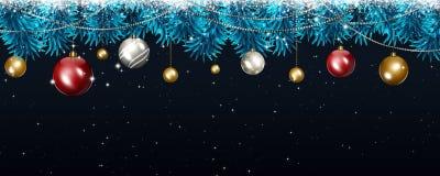 De Donkere Banner van de Kerstmisvakantie Stock Afbeelding