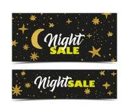 De donkere banner van de nachtverkoop Royalty-vrije Stock Afbeeldingen