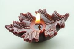 De donkere brandende kaars van Bourgondië in de vorm van een blad Stock Foto's