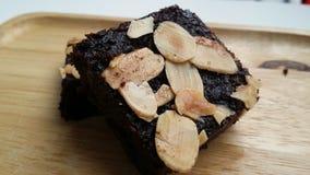 De donkere Brownie van de Chocoladeamandel Stock Afbeelding