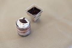de donkere cake van de chocolademousse met ranselende room Royalty-vrije Stock Foto's