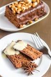 De donkere cake van het engelenvoedsel Stock Afbeelding