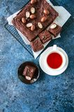 De donkere die vierkanten van de chocoladebrownie op een draadrek met cre wordt verfraaid Stock Fotografie