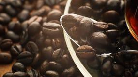De donkere espresso geroosterde macromening van koffiebonen Royalty-vrije Stock Fotografie