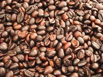 De donkere espresso geroosterde macromening van koffiebonen Stock Foto's
