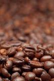 De donkere geroosterde achtergrond van koffiebonen Royalty-vrije Stock Foto's