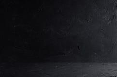 De donkere grijze muur en de vloer van de grunge ruwe concrete textuur Stock Afbeelding
