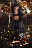De donkere Halloween heks Stock Afbeeldingen