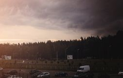 De donkere hemel bij dageraad Royalty-vrije Stock Foto's