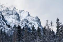 De donkere hemel van de sneeuwberg Stock Afbeelding